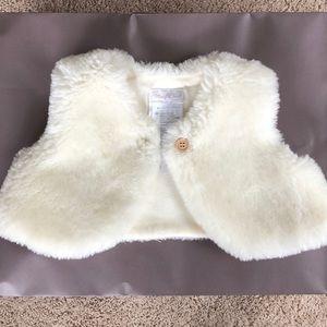 Baby girl faux fur cream vest